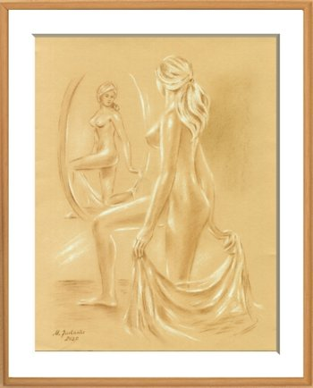 Woman at the Mirror erotic pastel drawing