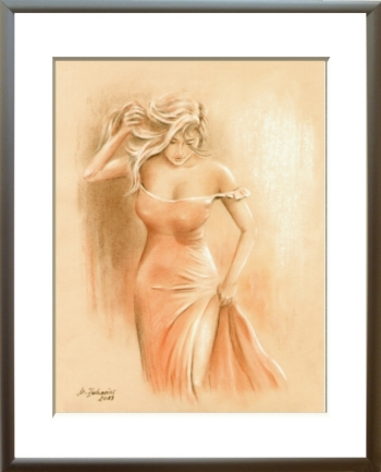 Man's dream in red dress, pastel drawing, erotic woman