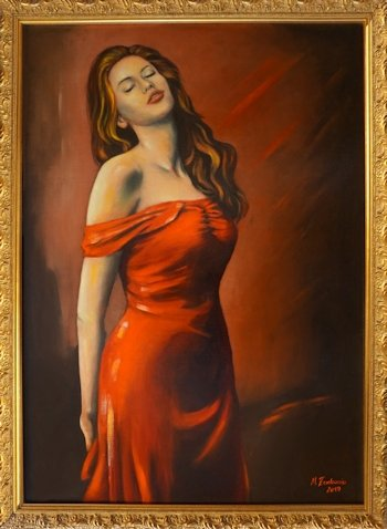 Beautiful Woman in red Dress Oil painting erotic art